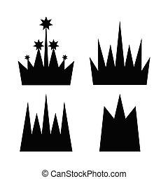 vektor, krone, sammlung, ikone