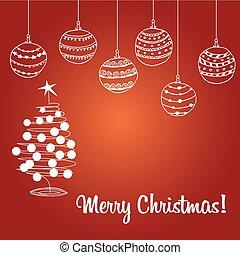 vektor, kugel, baum, weihnachtskarte