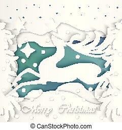vektor, kunst, reindeer., abbildung, papier, weihnachten