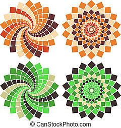vektor, květ, mozaika