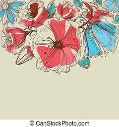 vektor, květiny