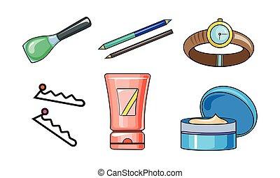 vektor, kvinde, skønhed, illustration, tilbehør, elementer, samling, baggrund, hvid, omsorg, kosmetikker