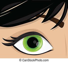 vektor, kvinna öga