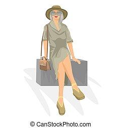 vektor, kvinna, box., illustration., resa, ung, begrepp, sitt, din, design.