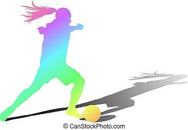vektor, kvinna, leker, färg, spelare, boll, flicka, fotboll, skugga, soccer.