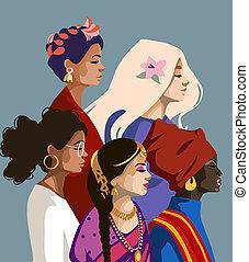 vektor, kvinnor, oberoende, illustration, equality., frihet, olik, internationell, cultures., kämpa, day., nationer