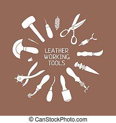 vektor, läder, illustration, hand, hantverk, oavgjord, redskapen