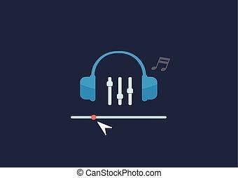 vektor, lägenhet, begrepp, sätta, musik