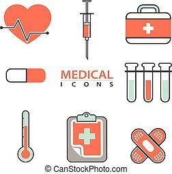 vektor, lägenhet, begrepp, sätta, skaffar, ikonen, medicinsk, equipment., behandling, grafik formge, nät, diagnos, sjukvård, laboratorium, läkemedel, testar