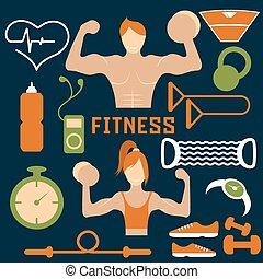 vektor, lägenhet, design, av, fitness, med, grabb, och, nät ikon, av, fitness, elementara