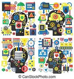vektor, lägenhet huvud, begrepp, dator nät, skydd, security., social, global, kreativitet, cybernetiska, forska, grundläggande, infographic, design, media, direkt meddelande, teknologi