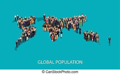 vektor, lägenhet, illustration, av, folk, stående, på, världen, global