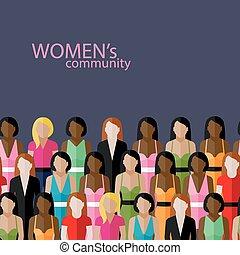 vektor, lägenhet, illustration, av, kvinnor, gemenskap, med,...