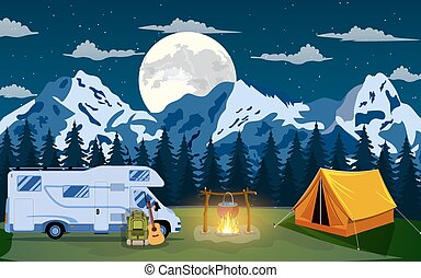 vektor, lägenhet, illustration, camping.