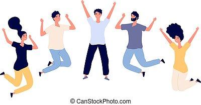 vektor, lägenhet, kvinna, fira, teenagers, folk., flygning, isolerat, luft., ung, personerna, sätta, hopp, tecken, man, lycklig, hoppning