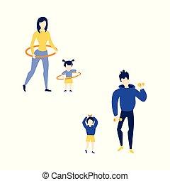 vektor, lägenhet, mor, flicka, fader, son, gör, övning
