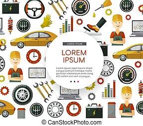vektor, lägenhet, tjänste- bil, ikonen, mönster, affisch
