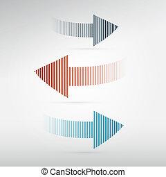 vektor, lätt, sätta, pilar, bakgrund