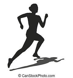 vektor, løb, kvinde, silhuet, shadow.