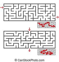 vektor, labyrinter, hänrycka, sätta, lägenhet, enkel, två, illustration, isolerat, bakgrund., answer., rektangulär, vit, exit., korrekt
