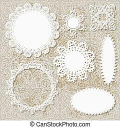 vektor, lacy, urklippsalbum, servett, design, mönster, på,...