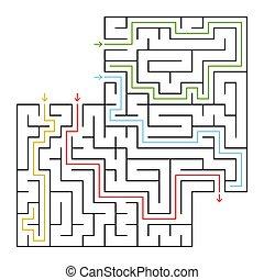 vektor, lakás, derékszögben, answer., illustration., labyrinth., egyszerű, beszerez, elszigetelt, drawings., helyes, állás, kiválaszt, irány, maze., -e, ki