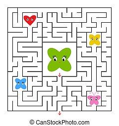 vektor, lakás, derékszögben, segítség, beszerez, egyszerű, labyrinth., elszigetelt, övé, friends., útvesztő, megment, ki, karikatúra, illustration.