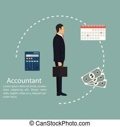 vektor, lakás, fogalom, dolgozó, számítás, számítás, statisztikai, accountant., ábra, profit., ember, analízis, jövedelem, üzletember, bevételek, jelent, accounting., design.