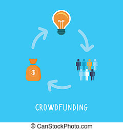 vektor, lakás, mód, fogalom, crowdfunding