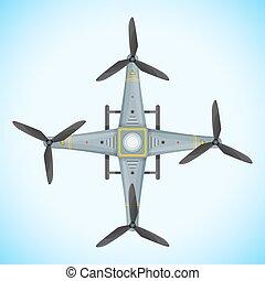 vektor, lakás, quadcopter, henyél, ábra