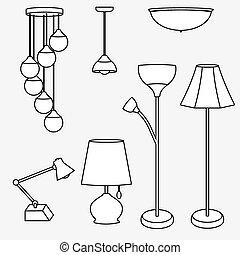 vektor, lampe, sammlung, beleuchtung, arten