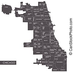 vektor, landkarte, chicago, bezirk