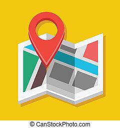 vektor, landkarte, und, landkarte, etikett, ikone