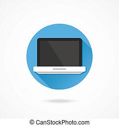 vektor, laptop, ikone
