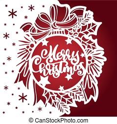 vektor, laser, text, cutting., kugel, zweige, schablone, bow., aß, frohe weihnacht, weihnachten.