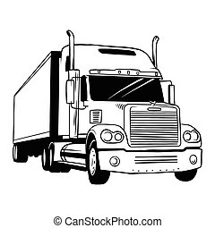 vektor, lastbil, amerikan, svart, illustration, vit, -