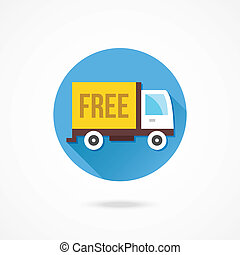 vektor, lastbil, gratis, skeppning, ikon