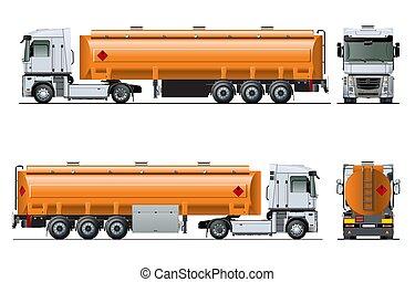 vektor, lastbil, mall, isolerat, realistisk, tankfartyg