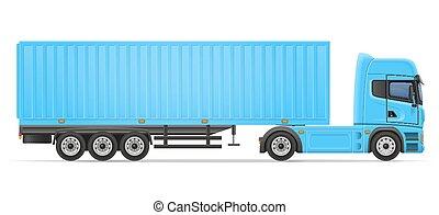 vektor, lastbil, släpvagn, illustration, halv-