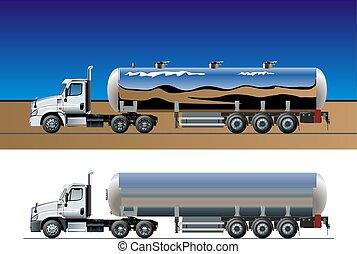 vektor, lastbil, tankfartyg, mall