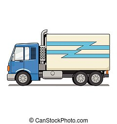 vektor, lastbil, tecknad film, illustration