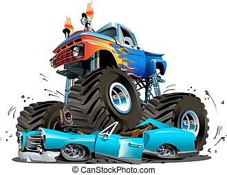 vektor, lastbil, tecknad film, monster