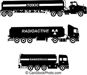 vektor, lastbiler, sæt, silhuetter, radioaktive, toksisk, kemisk, stoffer, illustration., cistern, forskellige, hvid, baggrund., isoleret, risikabel, bær