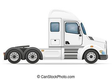 vektor, lastwagen, anhänger, abbildung, halb