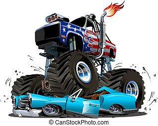 vektor, lastwagen, karikatur, monster