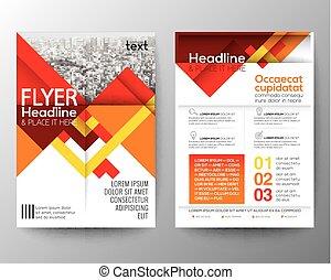 vektor, layout, bakgrund, affisch, abstrakt, flygare, design, mall, broschyr, geometrisk, röd