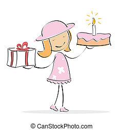 vektor, leány, noha, torta, és, ajándék