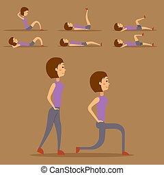 vektor, lebensunterhalt, frau, illustration., gesunde, workout, zeichen, junger, diät, trainieren, begriff, fitness, daheim