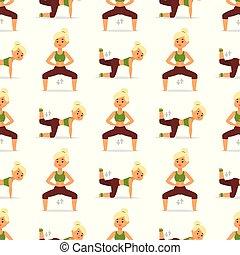 vektor, lebensunterhalt, training, frau, illustration., gesunde, muster, workout, zeichen, trainieren, diät, seamless, trainieren, begriff, hintergrund, fitness, daheim