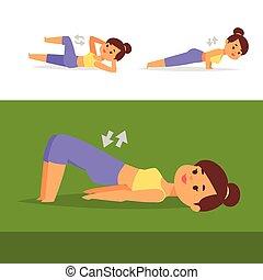 vektor, lebensunterhalt, training, frau, illustration., gesunde, workout, zeichen, trainieren, diät, trainieren, begriff, fitness, daheim